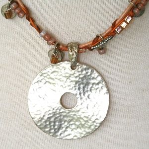 CHICO'S Silver Medallion Beaded Necklace